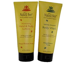 Naked Bee Orange Blossom Honey Hand and Body Lotion 6.7 Oz + Orange Blossom Honey Body Wash 6.7 Oz Set