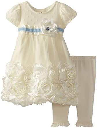 Nannette Baby-Girls Newborn 2 Piece Rossette Dress Legging Set, Beige, 0-3 Months