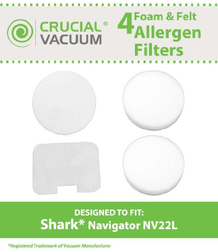 Shark NV22L Foam and Felt Replacement Vacuum Filter Kit 4-Pack Designed To Fit Shark Navigator NV22L; Replaces Shark Vacuum Part # XF22; Designed & Engineered By Crucial Vacuum (Sharp Navigator Filter compare prices)