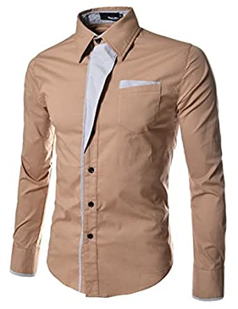 (N320) TheLees Mens Casual Long Sleeve Stripe Patched Fitted Dress Shirts BEIGE Chest 36(Tag size M)