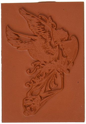 Deep Red Stamps Angel with Harp Rubber Stamp