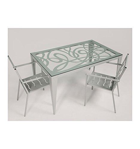 Mesa de jardín Bormujos - Grupo 2 - Gris plata (color con incremento de precio), Mesa con medidas de 130x85x76 cm. de alto.