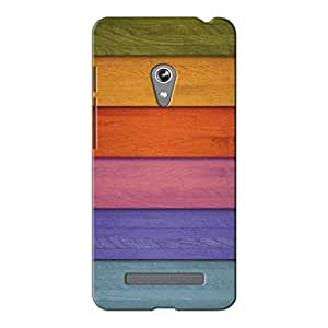 Wrapit Pattern Stripes Wooden Colourfull Hard Back Case Cover For Asus Zenfone 5