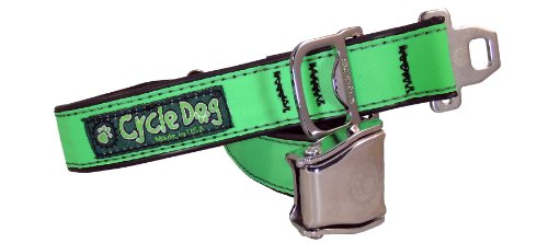 Cycle Dog Bottle Opener Recycled Dog Collar with Seatbelt Metal Buckle, Green Max Reflective, Large