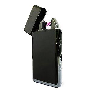 CRECADO Cigarette Briquet Double Arc Electrique USB Rechargeable Coupe-vent Sans Gaz Sans Flamme Noir Glace