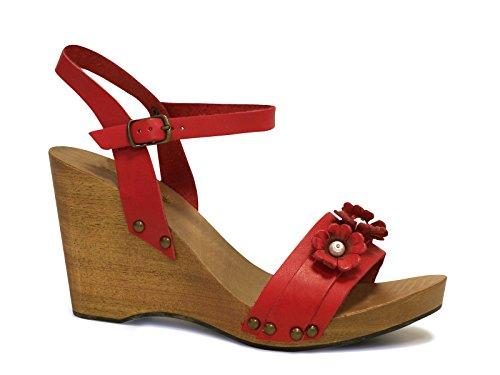 Sandali zeppa in legno e pelle di vitello rosso - Codice modello: 090 ROSSO - Taglia: 37 IT