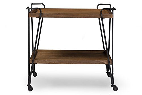 Baxton Studio Alera Rustic Industrial Style Antique Textured Metal Distressed Ash Wood Mobile Serving Bar Cart, Black (Bar Cart Wood compare prices)