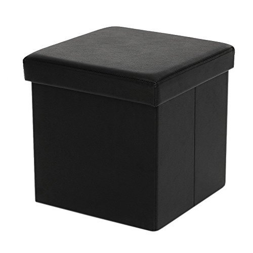 Vencer Black Leather Folding Storage Ottoman Bench Foot Rest Stool Seat Chest 15