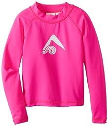 Kanu Surf Little Girls\' Keri UPF 50+ Long Sleeve Rashguards, Neon Pink, 4T