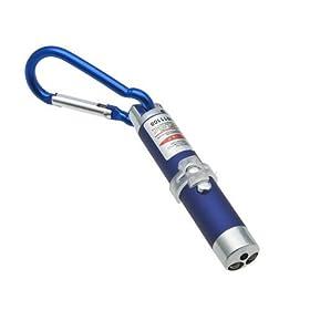 超ミニ LED レーザーポインターペン携帯キーホルダー型 (青)