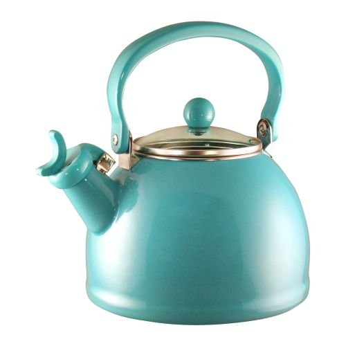 Calypso Basics 2-1/5 Quart Whistling Teakettle w/ Glass Lid, Turquoise (Vintage Tea Kettle compare prices)