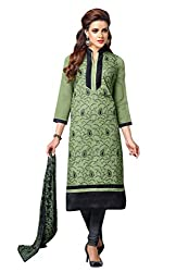 PS Enterprise Mahendi Green Chanderi Cotton Embroidery Work Unstitched Dress Material With Dupatta - 7DMK020