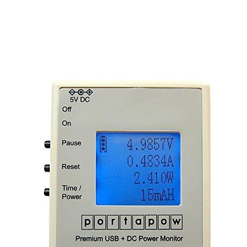 PortaPow - Premium Multimètre USB + DC Chargeur Testeur / Voltmètre / Ampèremètre