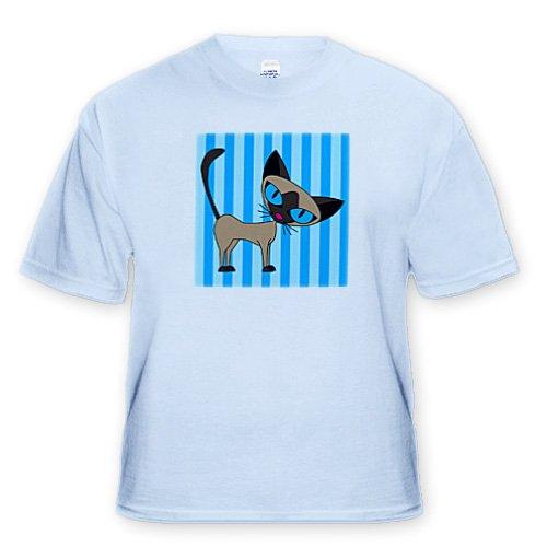 Cute Siamese Cat Design - Adult Light-Blue-T-Shirt 5XL