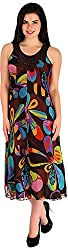Holidae Women's Multicolour Floral Print Dress (hi-dr-mx-026_M, Dark Brown and Yellow, M)