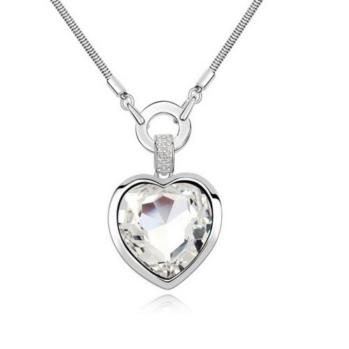 "Alvdis Fashion Jewelry Love Heart Style Alloy Swarovski Crystal Long Sweater Chain Pendant Necklace, 30"", White"
