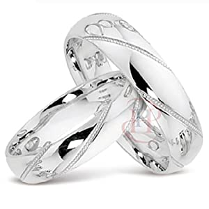 The Trulove Range - Argentium Silver 6MM & 4MM Diamond Cut D Shape Court HIS & HERS 2 Piece Wedding Ring Set Made to order only + FREE ENGRAVING (sizes H to Z+3) FREE Double Ring Case EMAIL US YOUR SIZES & ENGRAVING DETAILS Max 22 characters inc spaces