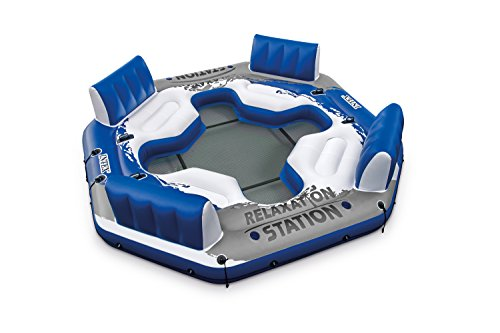 Intex Pacific Paradise Relaxation Station Water Lounge 4-Person River Tube Raft (Blue/Grey)