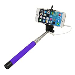Casotec Wired Remote Shutter Extendable HandheldSelfieStick Monopod for IOS Android - Purple