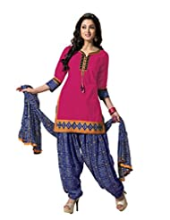 Ritu Creation Women's New Cotton With Front Latkan And Bandhni Print Patyala And Dupatta(Pink)