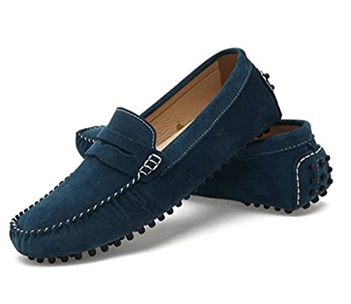 10. SUNROLAN Men's Suede Leather Dress Shoes Slip On Penny Loafers Driving Moccasin Shoes
