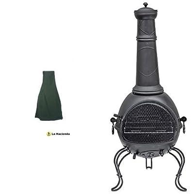 La Hacienda 60534 Large Deluxe Chimenea Rain Cover - Green La Hacienda 56063b 136cm Xl Murcia Steel Chiminea With Grill - Black Set