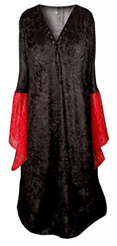 [Sanctuarie Designs Women's Gothic Witch Black W Red Lace Sleeve Plus Size Supersize Halloween Costume] (Halloween Costumes Elvira)