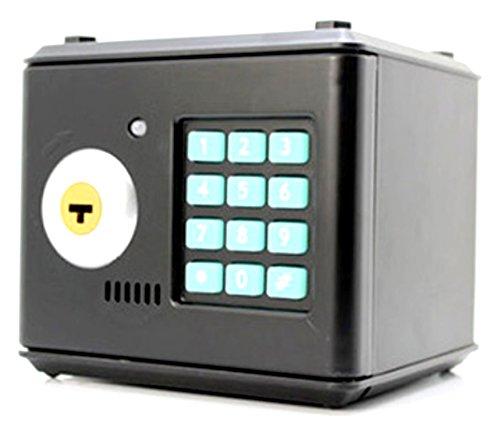 ダイヤル ロック 式 金庫 貯金箱 【ブラック】 鍵 付き テンキー 式 パスワード 設定 暗証 番号 硬貨 紙幣 コイン