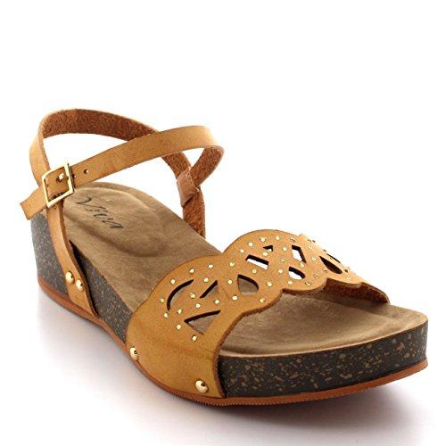 Donna Zeppa Suola In Legno Open Toe Caviglia Cinghia Diamante Sandalo - Tan - UK7/EU40 - SK0069