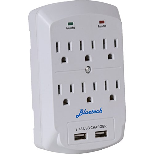 Surge Protector, Electronics Charging Station, 6 Outlet 2 USB Port Wall Adapter with Safety ...