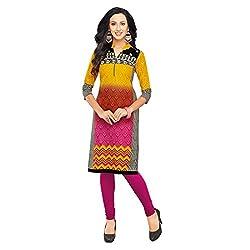 Stylish Girls Women Cotton Printed Unstitched Kurti Fabric (SND256_Yellow_Free Size)