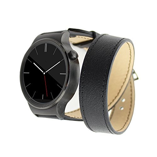 Huawei Bands, JDHDL® Genuine Leather Double Ring Bracelet Watch Bands for Huawei Smart Watch Released in 2015 (Leather Double Ring Black)