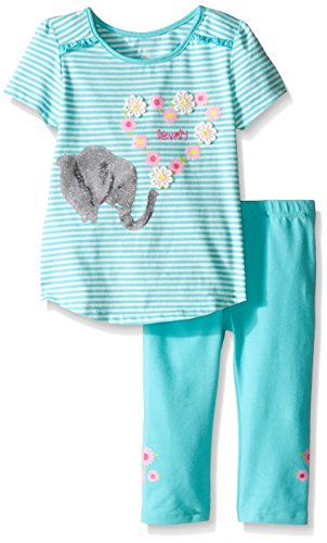 The Children's Place Toddler Girls Capri Legging Set, Sea Frost, 2T