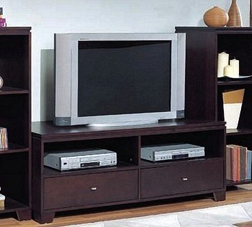 Cheap Cappuccino Plasma LCD Flat Panel TV Stand w/Drawers (VF_700141)
