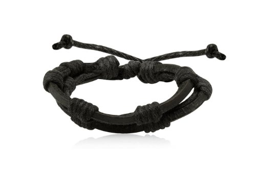 Fashion Black Leather Wrap Cuff Rasta Bracelet Bangle Men's Jewelry