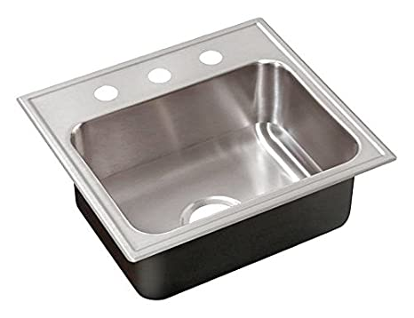 Just SLADA1921A1,5.5,DCC 18 Gauge Drop In Single Bowl Ada Stainless Steel Sink with Faucet Ledge