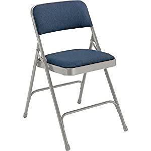 National Public Seating 2200 Series Steel Frame Upholstered Premium Fabric Seat and Back Folding Chair with Double Brace, 480 lbs Capacity, Imperial Blue/Gray (Carton of 4)
