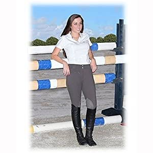 TuffRider Women's Ribb Knee Patch Breeches (Long), White, 30