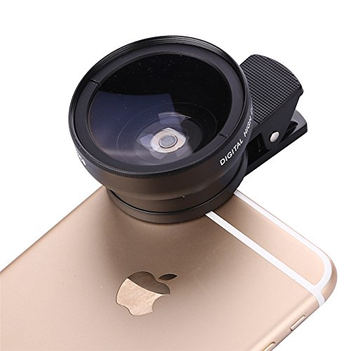 RACAHOO-2in1-Clip-on-Detachable-Universal-Professional-HD-Camera-Lens-Kit-for-iphone-66s-Plus6s5s-ipad-Samsung-Galaxy-Mobile-Phone-045x-Super-Wide-Angle-Lens-125x-Macro-Lens-Black