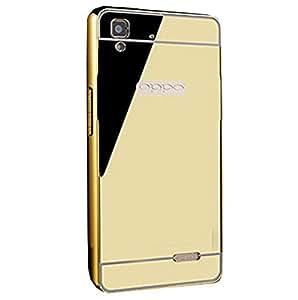 Novo Style Luxury Shiny Bling Glitter Metal Clear Aluminum Frame Cover Ultra Thin Slim Bumper Hard Back Case Cover For Oppo F1 - Golden