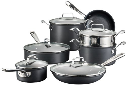 Emeril by All-Clad E836SC Hard Anodized Nonstick Dishwasher Safe Oven Safe Cookware Set, 12-Piece, Black (All Clad Pan Set compare prices)