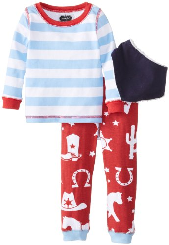 Mud Pie Baby Boys' 3 Piece Set Striped Top with Cowboy Pants and Bib Set