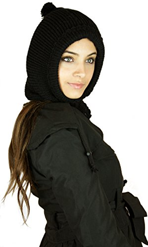Handmade Alpaca Neckwarmer and Hood Hat – Classic Black