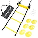 AGILITY LADDER & SPEED CONES BUNDLE by FireBreather Training | Set of 12 Adjustable Rungs - Pegs & Nylon Bag | Perfect Exercise Equipment to Improve Functional Skills in Soccer Football & Sports