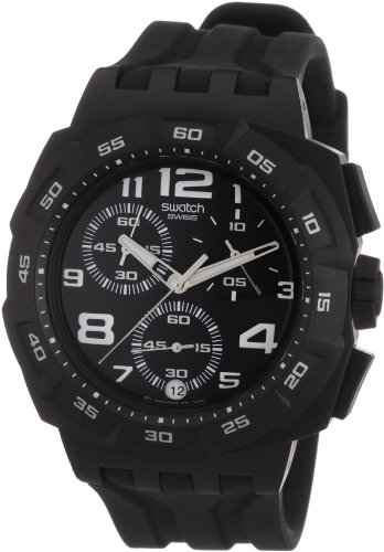 Swatch Unisex Mister Twin Black Dial and Strap Chronograph Watch