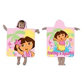Childrens/Kids Dora the Explorer Hooded Poncho 100% cotton beach towel