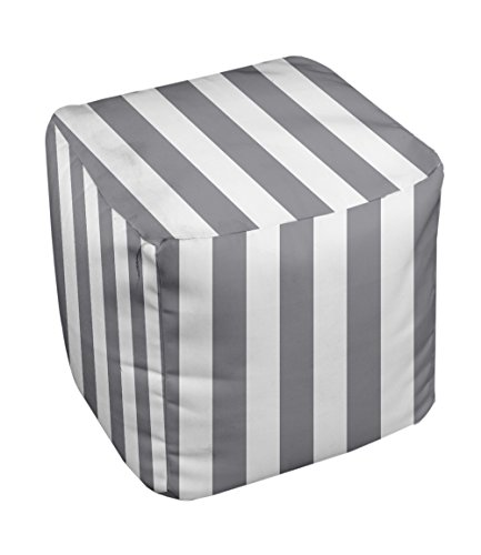 E by design Stripe Pouf, 13-Inch, Classic Gray