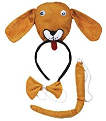 3D Brown Dog Headband Bowtie Tail 3pc Costume Set for Kid Halloween School Play