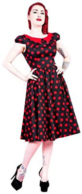 H&R London Carrie Big Red Polka Dot 50's Swing Dress