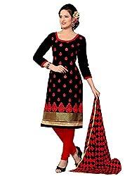 Shonaya Women's Unstiched Dress Material (VIKAV-1007_Black)